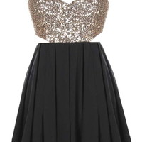 Dance Floor Dress   Gold Black Sequin Backless Party Dresses   Rickety Rack