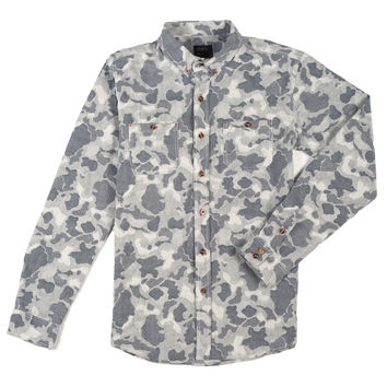 Bubble Camo Button Down Shirt Blue