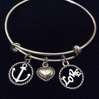 Your Love is my Anchor Expandable Charm Bracelet Adjustable Silver Wire Bangle Nautical Ocean Jewelry Gift Trendy Stacking