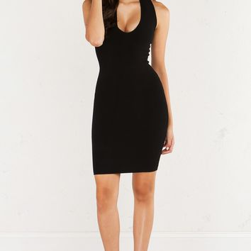 AKIRA Sleeveless Mock Neck Body Con Dress With Zip Up Front in Black