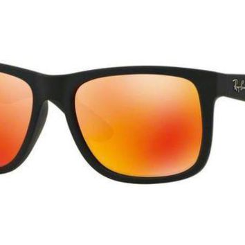 Kalete NEW RAY-BAN JUSTIN SUNGLASSES 55MM | RUBBER BLACK W/ ORANGE MIRROR RB4165 622/6Q