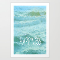 HAPPINESS. Vintage beach Art Print by Guido Montañés