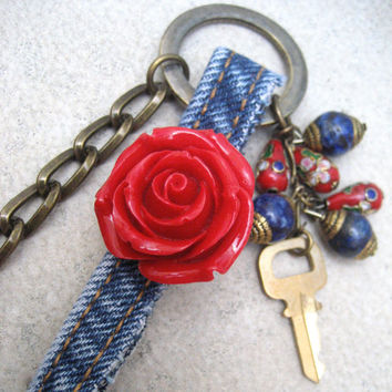 Denim Red Flower Assemblage Necklace - Asymmetrical Chain - Antiqued Brass - Long Dangling Necklace