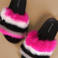 Bamboo Stripy Faux Fur Slide Sandal