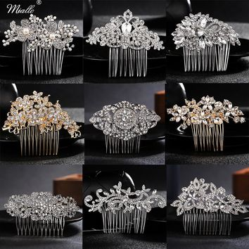 Miallo Hair Combs for Decoration Wedding Hair Side Combs for Bridal Rhinestone Headpiece Hairpins for Women Hair Accessories