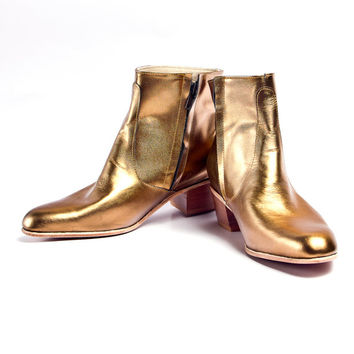 brass leather beatle boots  - FREE SHIPPING