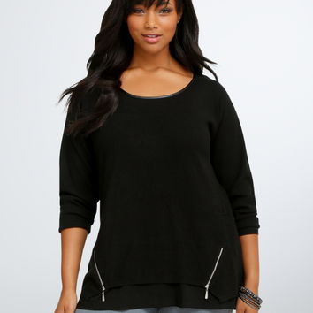 Side Zip Ruffle Sweater