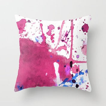 pink splash Throw Pillow by agnes Trachet | Society6