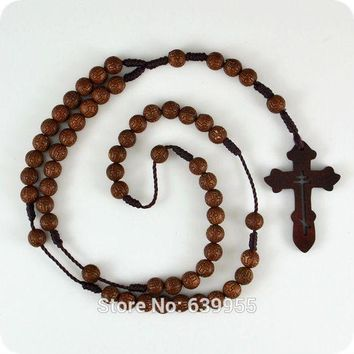 ICIKHY9 Dark Brown Rosary Beads Orthodox Cross Wood Pendant Necklace Fashion Religious jewelry