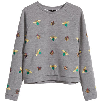 H&M - Embroidered Sweatshirt - Gray - Ladies