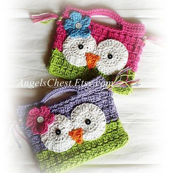 PDF PATTERN Cute Hand Crochet OWL Purse Handbag Boutique Design - No. 15