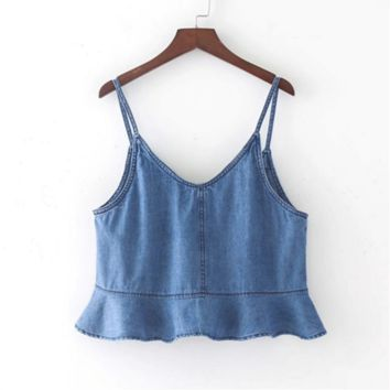 New fashion sexy lotus leaf side harness shirt female summer cowboy vest blue top
