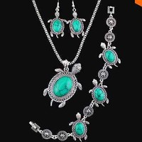 Silver Plated Turquoise Turtle Necklace, Bracelet And Earrings Jewelry Set