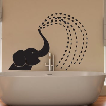 Vinyl Wall Decal Sticker Spraying Baby Elephant #OS_DC649