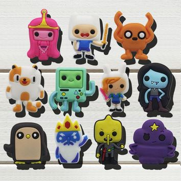 New Fashion Cartoon 11PCS Adventure Time With Finn and Jake PVC Shoe Charms Accessories fit Bracelets JIBZ,Shoe Decoraction Gift