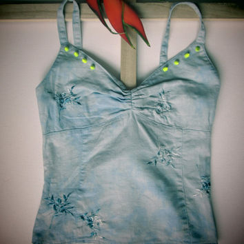 Grunge Boho bleached, embroidered top embellished with neon yellow spikes, Grunge clothing, Rave wear, Grunge top, Rave, Rock Chic, Rockstar