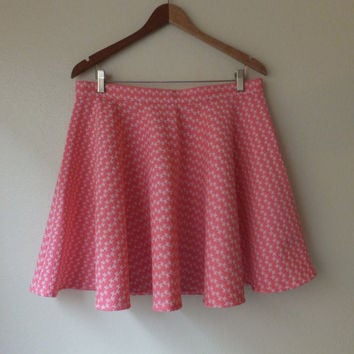 L / Pink Houndstooth Circle Skirt
