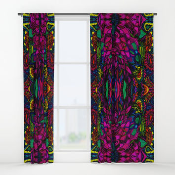 Psychedelic Illusions Intense Colors Pattern Window Curtains by Zurine