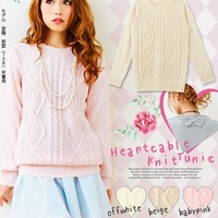 Back ribbon♪Heart shaped knitted sweater◆9/19 ships planned