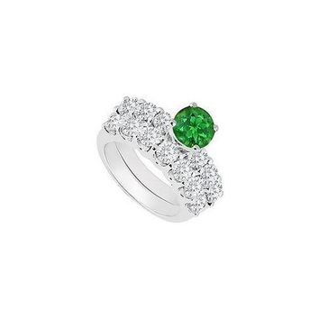 14K White Gold : Emerald and Diamond Engagement Ring with Wedding Band Set 1.15 CT TGW