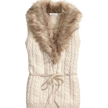 H&M - Cable-knit Vest - Natural white - Ladies