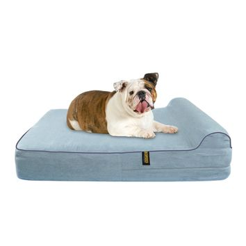 Orthopedic Dog Bed With Pillow Waterproof Memory Foam Large Bed - Grey