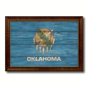 Oklahoma State Flag Texture Canvas Print with Brown Picture Frame Gifts Home Decor Wall Art Collectible Decoration