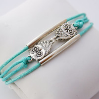 3 Strand Mint Green Owl Cord Bracelet (Adjustable Sizing)