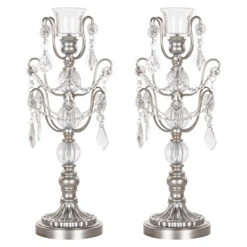 2-Piece Chandelier Candlestick Candelabra Set with Glass Crystals (Silver)