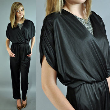 80s jumpsuit party JUMPSUIT - DISCO harem jumpsuit slinky batwing black liquid disco jumpsuit xs/s extra small / small