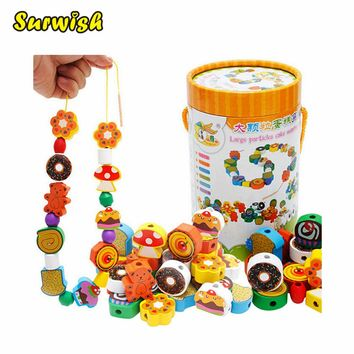 Surwish 70 Grains Wooden Cakes Printed Beads Set for Kids Educational Toy