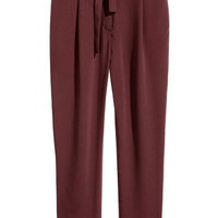 Trousers with a tie belt - Burgundy - Ladies | H&M GB