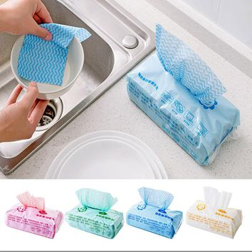 80pcs Environmental Disposable Wipes Washing Cloth Dish Towel Kitchen Cleaning Cloth Non-stick Oil Wiping Rags Towel Bag