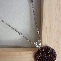 Unpolished Red Garnet Pendant on Ball Chain Necklace