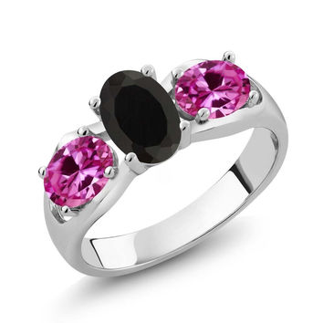 1.80 Ct Oval Black Onyx Pink Created Sapphire 925 Sterling Silver Ring