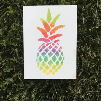 Rainbow Pineapple Greeting Card / Birthday, Get Well Soon, Thank You or Anniversary Card / Blank on the Inside / Handmade