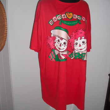 Ugly Christmas Shirt Raggedy Ann and Andy ~ Hand In Hand for The Holidays  Christmas sweater Party One size fits All Most