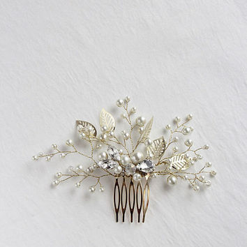 Leaf Hair Comb Silver Hair Comb Wedding Bridal Hair Comb Bridal Headpiece Floral  Flower Hair Comb Botanical Whimsical Hair Comb