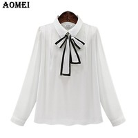 Girls Lolita Blouses and Shirts Long Sleeve Dark Blue White Color Cute Blusas with Bowtie Clothing Lady Tops