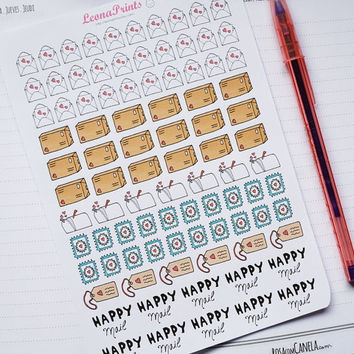 Happy Mail Planner Stickers | Stationery for Erin Condren, Filofax, Kikki K and scrapbooking