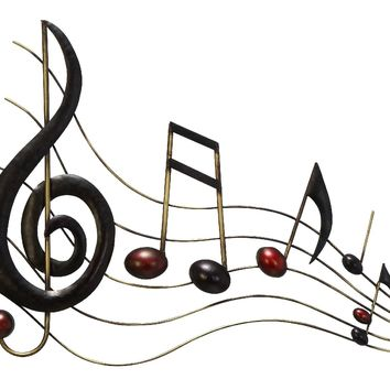 Musical Metal Notes Wall Decor In Black and Copper-Benzara