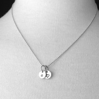 Tiny letter s Necklace, Sterling Silver Initial Necklace, Heart Necklace, Charm Necklace, Initial Jewelry, Personalized Jewelry