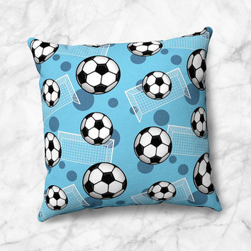 Blue Soccer Throw Pillow - Pattern With Soccer Balls And Goals - Size Options - Cover Only or Full Pillow - Made to Order