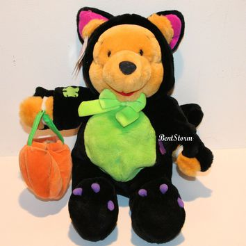 "Licensed cool Disney Store 14"" Halloween Scaredy Cat Pooh Winnie-the-POOH PLUSH BEAR Pumpkin"