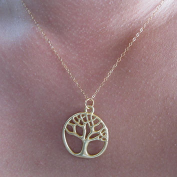 Gold Tree of life necklace , dainty everyday necklace , tree necklace , delicate necklace , minimalist jewelry , mother's day gift