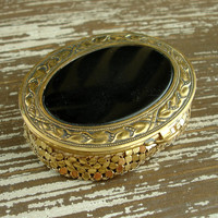 Vintage 1930s Evans Compact, Gold Mesh and Black Enamel, Art Deco Powder Compact Mirror, Make up Compact, Hollywood Regency, Ex Condition