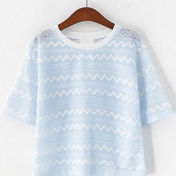 Candy Color Short Sleeve Zig Zag Lace Cropped T-Shirt