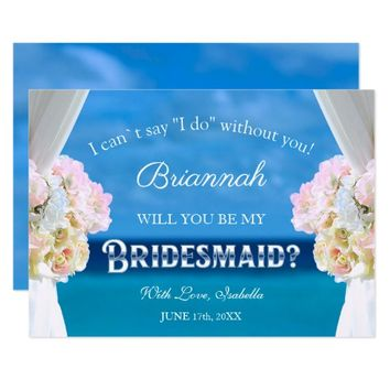 Elegant Ocean Beach Will You Be My Bridesmaid Card