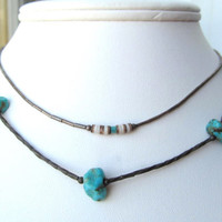 Turquoise liquid silver choker necklaces 2 in lot