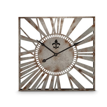 Rustic Metal Square Wall Clock